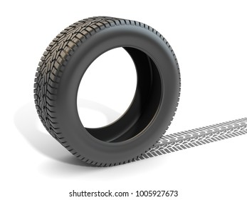 Car Tire and Track , This is a 3d rendered computer generated image. Isolated on white.