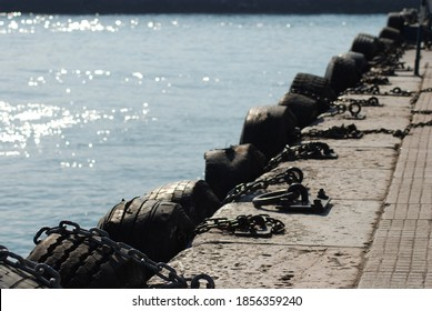 Car tires at the city steamers port