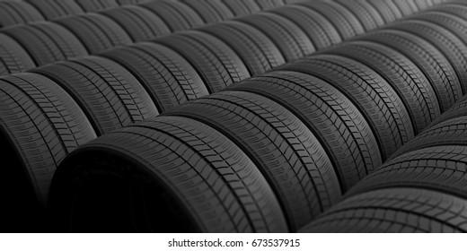 Car tires as full background. 3d illustration