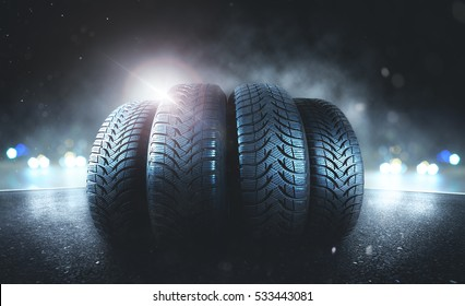 Car tires on the road