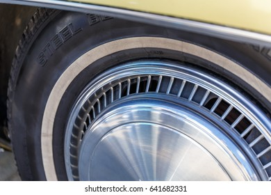 Car tires and retro and classic car wheels