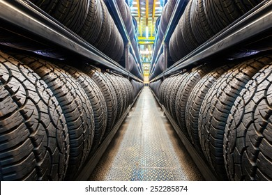 Car tires at warehouse