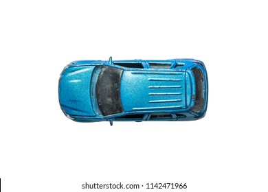 Car toy diecast on the white background , Top view(clipping path)