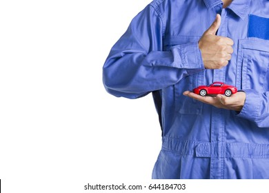 car toy on service man hand