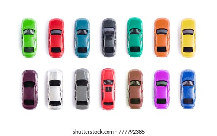 Car toy on white background top view