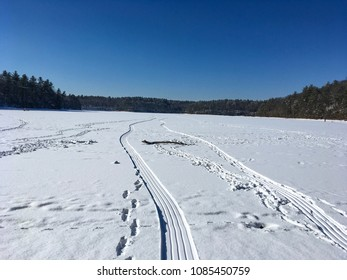 Car tracks in snow on frozen pond