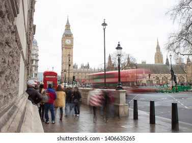 car traffic in London city. Big Ben in background, long exposure photo