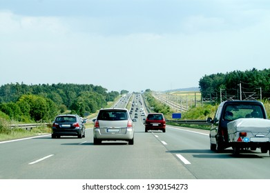 Car traffic on the Autobahn in Southern Germany