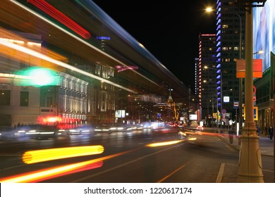 Car traffic on the night streets of Moscow city. The photo was taken at a long exposure