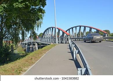 Car traffic on the seven-arch bridge. Znamensk, Kaliningrad region