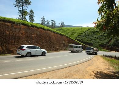 car traffic on the tea field mountain road sri lanka .Sri lanka,Ella,2020