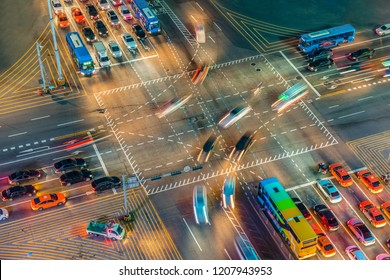 The car  trails in the city intersection, Traffic