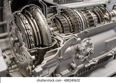 Car transmission cutaway side view