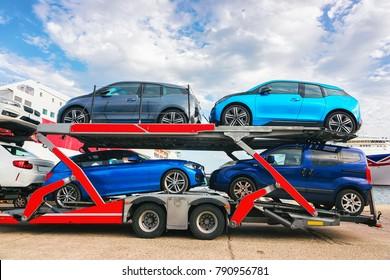 Car transporter in the port of Cagliari, Sardinia, Italy