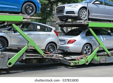 Car transporter trailer on the road