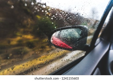 Car traveling through green forest on a rainy day with raindrops on the window