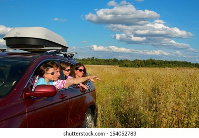 Car trip on family vacation, happy parents and kids travel and have fun, car insurance concept