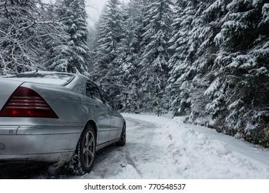 Car Trip in the snowy mountain