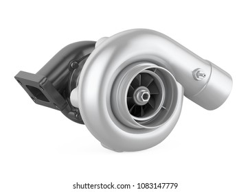 Car Turbocharger Isolated. 3D rendering