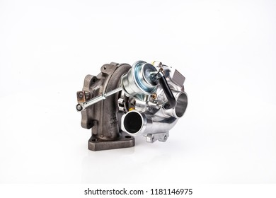 Car turbocompressor on an isolated studio white background