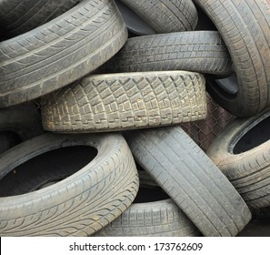 Car tyres old worn