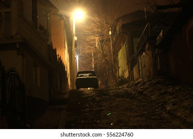 A car under the street light