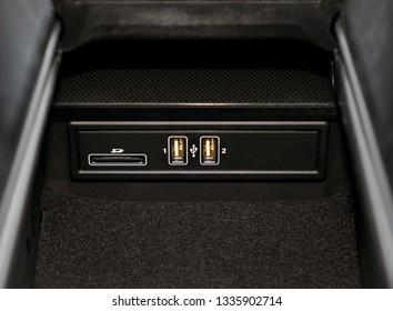 car usb port, charger detail. Car interior