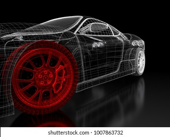 Concept car images stock photos vectors shutterstock car vehicle 3d blueprint mesh model with a red wheel tire on a black background malvernweather Images