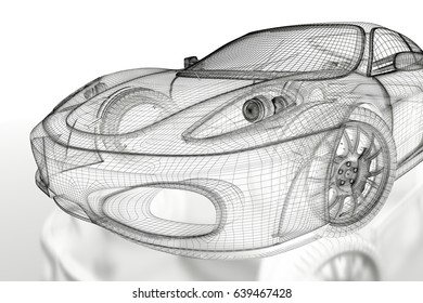 Car blueprint images stock photos vectors shutterstock car vehicle 3d blueprint mesh model on a white background 3d rendered image malvernweather Image collections