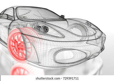 Car blueprint images stock photos vectors shutterstock car vehicle 3d blueprint mesh model with a red wheel tire on a white background malvernweather Image collections