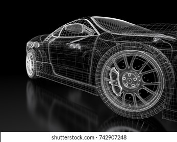 Concept car stock images royalty free images vectors shutterstock car vehicle 3d blueprint mesh model on a black background 3d rendered image malvernweather Choice Image