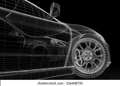Car engine blueprint images stock photos vectors shutterstock car vehicle 3d blueprint model on a black background 3d rendered image malvernweather Images