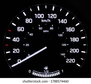 car velocimeter with full gas tank