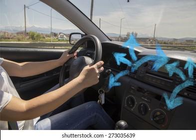 car ventilator -air conditioning cold - arrows