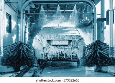 car wash, Automatic car wash in action, blue colored, Car concept. Wash car. Technology.