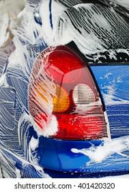Car wash at automatic car-wash service.