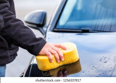 Car wash with a yellow soft sponge