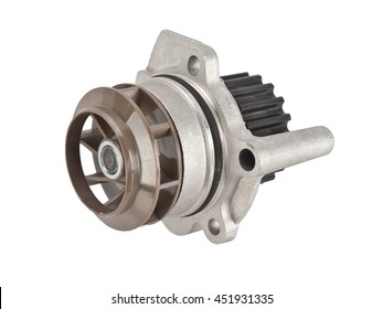 Car water pump ( roller and fan ) with timing belt and bolts isolated on white background. Automobile spare part
