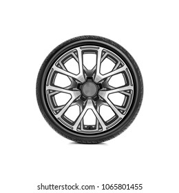 Car wheel with alloy wheel on a white background.