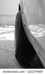 car wheel. black and white photo