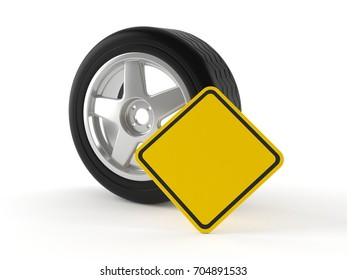 Car wheel with blank road sign isolated on white background. 3d illustration