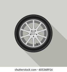 Car wheel flat icon with long shadow. Raster version