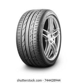 Car Wheel Isolated on White Background. Semi-Trailer Truck Tyre. Black Rubber Truck Tire with Alloy Rim. Clipping Path