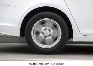 Car wheel in motion