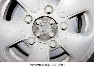 Car wheel on a car - closeup