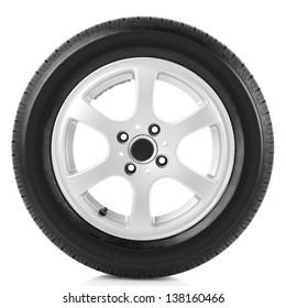Car wheel on white background