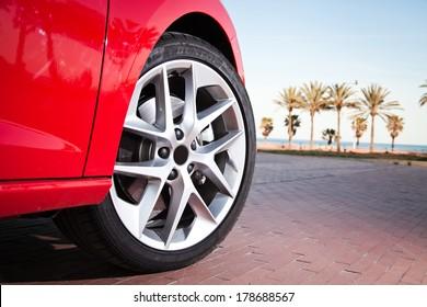 Car wheel in summer