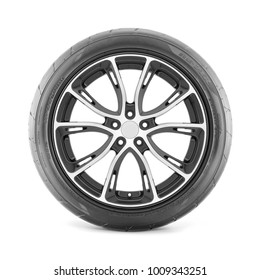 Car Wheel with Tire Isolated on White Background. Side View of Car Rim. Black Rubber Polished Chrome Tubeless Truck Racing Tyre. Clipping Path