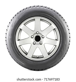 Car Wheel with Tire Isolated on White Background. Side View of Car Rim. Black Rubber Semi-Trailer Truck Tubeless Tyre. Clipping Path