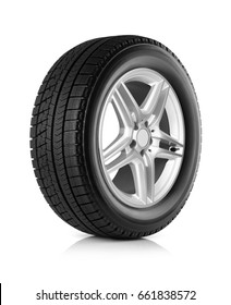 Car wheel and winter tire on white